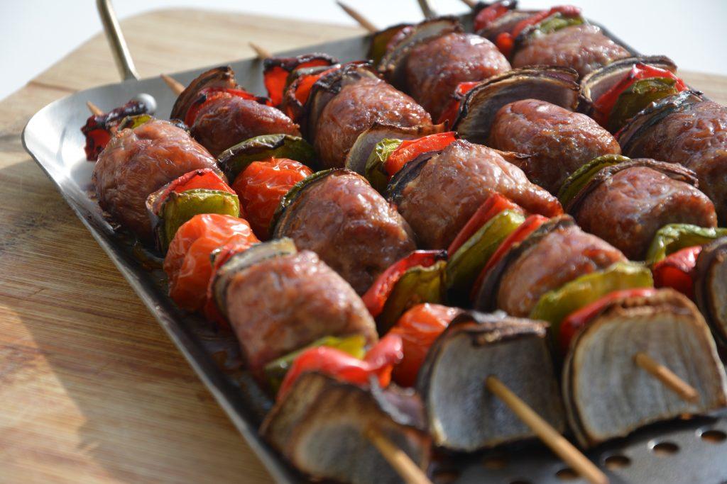 Skewers, sausage skewers, Cinder Grill, sous vide steak, sous vide, Desora